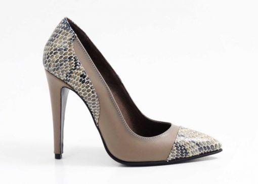 Pantofi din piele naurala Gris Snake