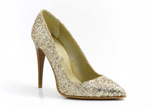 Pantofi din glitter Golden Stiletto