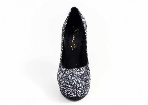 Pantofi din glitter Silver Black