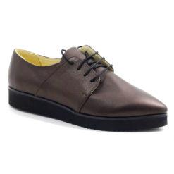 Pantofi din piele naturala cu siret si talpa din microlight