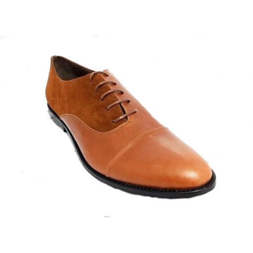Pantofi barbatesti din piele naturala maro box cu maro piele intoarsa