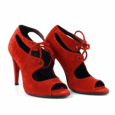 Sandale din piele intoarsa rosie
