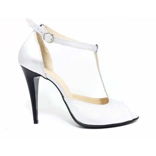 Sandale cu toc de 10 cm, din piele naturala Alexandra