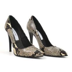 Pantofi stiletto din piele naturala Snake Beauty