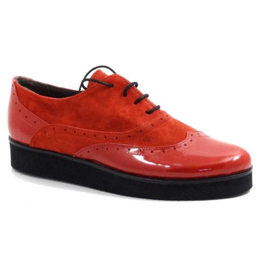 Pantofi Rosii cu siret din piele naturala New Oxford Style
