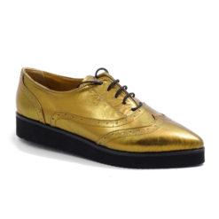 Pantofi aurii din piele naturala Golden Star
