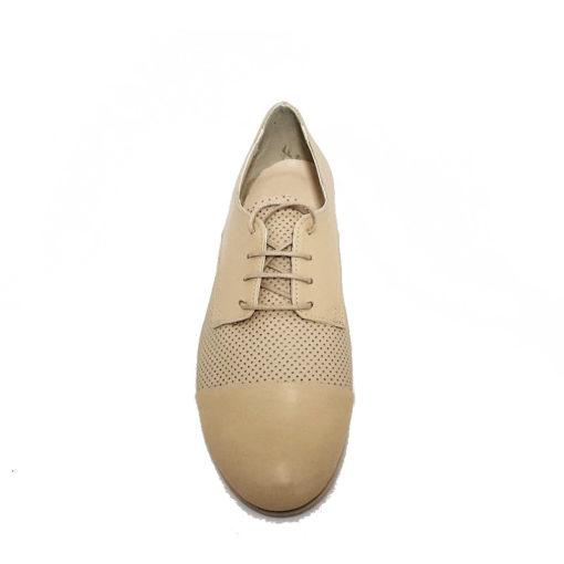 Pantofi dama din piele perforata bej Natalie