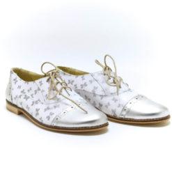 Pantofi albi cu fluturi argintii Oxy 2