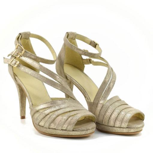 Sandale dama aurii din piele naturala Ira