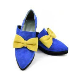 Pantofi Albastri cu funda Galbena Iris