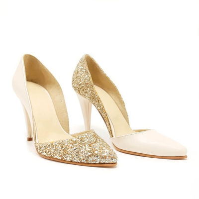 Pantofi de mireasa din glitter auriu cu box ivoire