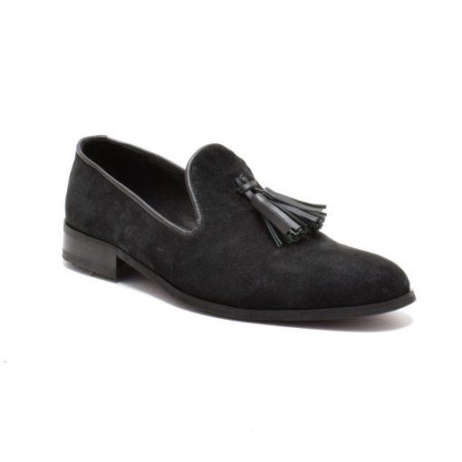 Pantofi pentru barbati din piele intoarsa neagra Samuel