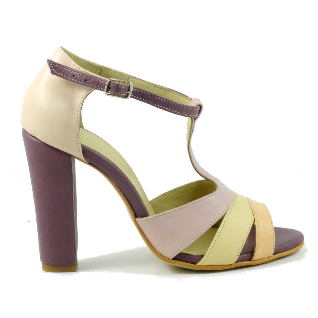 37425afee246 Sandale colorate din piele naturala Chic 4 - Pantofi Handmade
