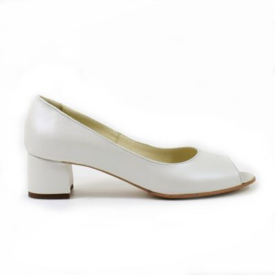 Pantofi albi sidefat de mireasa