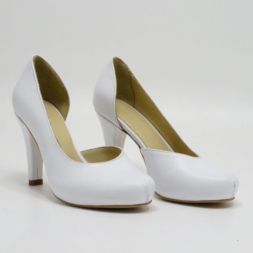 Pantofi Din Piele Naturala Alba Isadora Pantofi Handmade