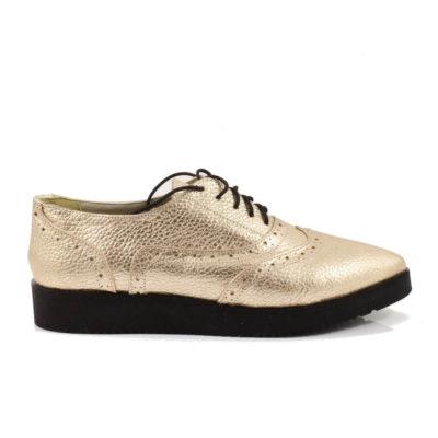 Pantofi din piele naturala aurie cu talpa joasa si siret