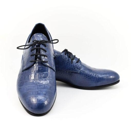 Pantofi barbatesti din piele naturala Croco Albastru