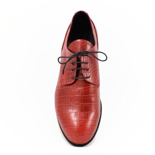Pantofi barbatesti din piele naturala Croco Rosu
