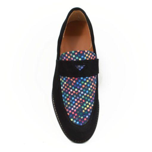 Pantofi Barbatesti Silvester negru cu print colorat