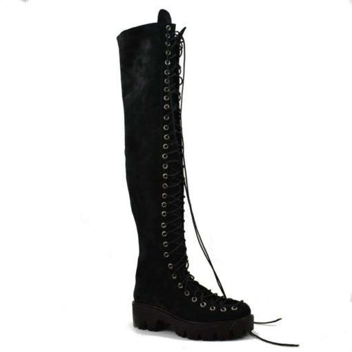 cizme peste genunchi negre