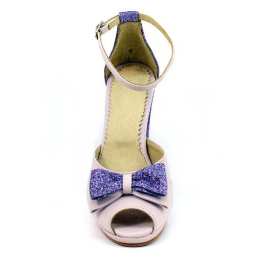 Pantofi de mireasa nude roze cu glitter mov
