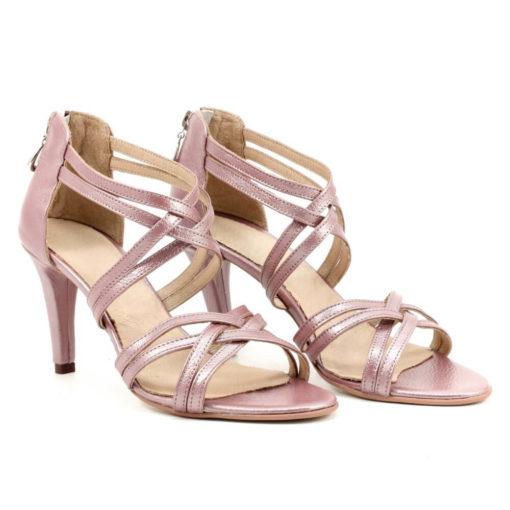 Sandale in barete nude roze sidefat