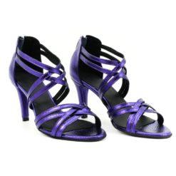 Sandale din piele naturala cu toc de 8 cm box bizonat mov sidefat