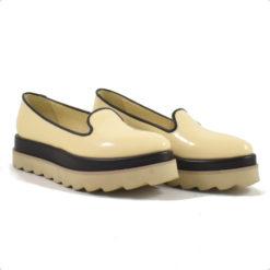 pantofi cu talpa joasa dubla nude cu negru