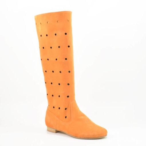 Cizme din piele intoarsa portocalie, perforate
