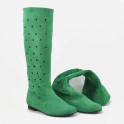 Cizme perforate din piele intoarsa verde