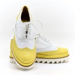 Pantofi casual dama Misty din piele box alb si galben (1921)