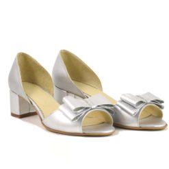 Pantofi din piele naturala argintie Leona (1930)