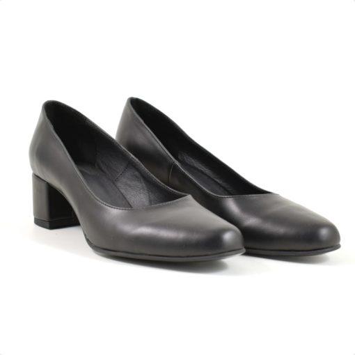 Pantofi din piele naturala lacuita neagra cu toc de 5 cm Donka (1931)