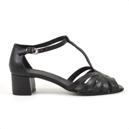 Sandale din piele naturala neagra si toc de 5 cm (1932)