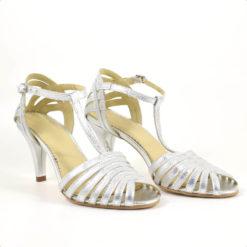 Sandale de mireasa din piele naturala argintie Beau Mariaje (1934)