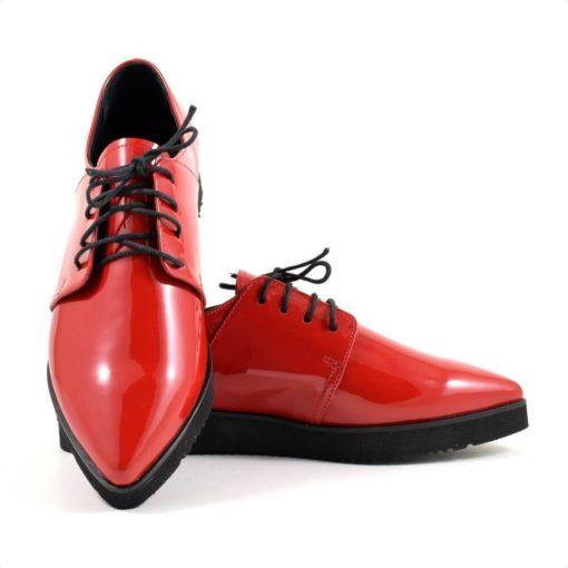 Pantofi casual din piele naturala lacuita rosie Flatt Point 3 ( 1928)