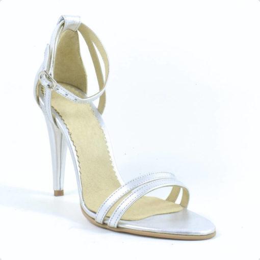 Sandale din piele naturala argintie cu toc de 10 cm Andreea (R 1631)