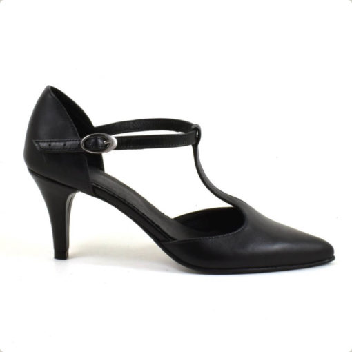 Sandale cu toc de 7 cm din piele naturala neagra (1943)