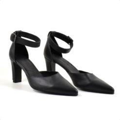 Sandale din piele naturala neagra cu toc de 7cm Hanna 3 (1942)
