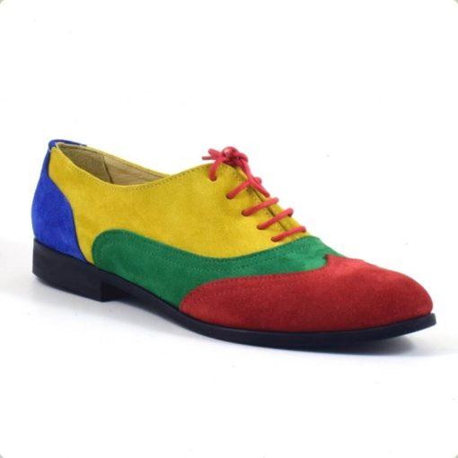 Pantofi oxford multicolor piele naturala intoarsa