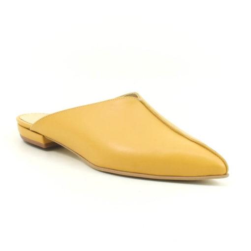 Papuci din piele naturala si talpa joasa Bia