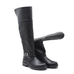 Cizme peste genunchi casual Taisa box negru