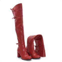 Cizme peste genunchi de culoare roșie din piele naturală de tip box și catarame la gleznă și la guler.
