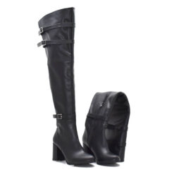 Cizme peste genunchi din piele naturala Neagra RZ 05