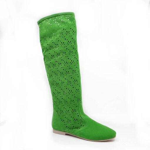 Cizme de vara perforate de vara realizate din piele intarsa naturala de culoare verde